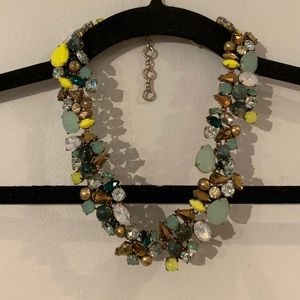 J Crew Crystal Cluster Statement Necklace Green
